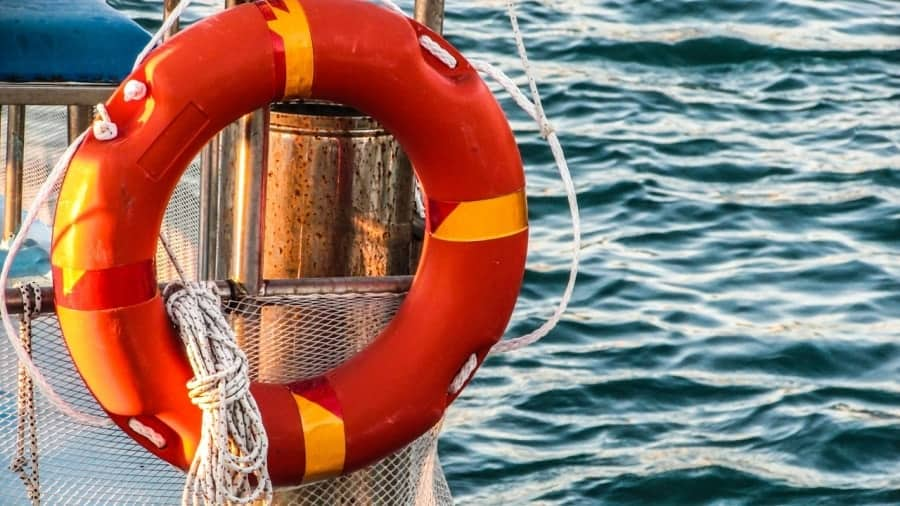 Life preserver on a sailboat